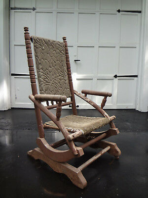 Antique Adirondack Arts & Crafts Mission Rustic Cabin Wood Rocker Rocking Chair