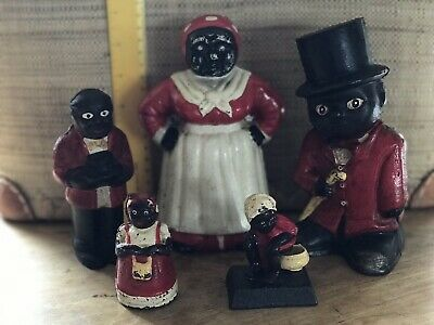 Collection Of 5 African American Ethnic Cast Iron Money Boxes Original Condition