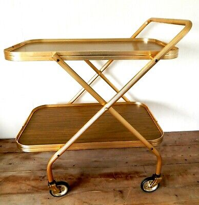 Vintage Retro Folding Gold Cocktail Drinks Tea Hostess Trolley Wood Effect