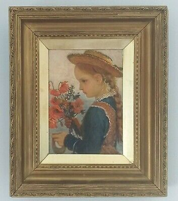 ENGLISH SCHOOL Oil Portrait of a Young Girl holding flowers, Late 20thc
