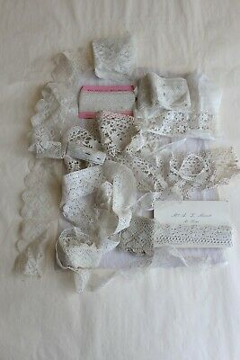 Large collection lot of antique lace and reclaimed trimmings and dress panels