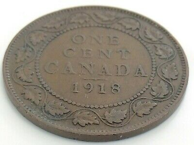 1918 Canada One 1 Cent Copper Large Penny Canadian George V Circulated Coin J833