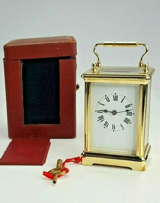Antique Brass Carriage Clock Timepiece and original Case