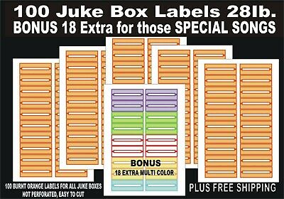 108 JUKE BOX BLANK TITLE STRIPS LABELS PERFORATED RED GREEN BLUE 45 RPM QUALITY