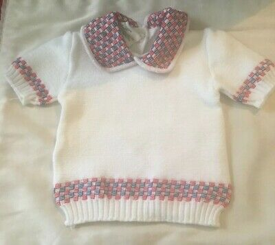 Vintage Lodzia Baby Knitted Knit Short Sleeve Sweater Rare
