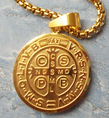 """Premium stainless steel Gold St. Benedict SanBenito pendant medal~24"""" Chain~card"""