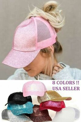 NEW COLOR Glitter Ponytail Baseball Cap Women Summer Mesh Hat beach style(U.S)