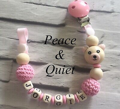Personalised Dummy Clip💖Wooden⭐️Dummy Chain💖Crochet⭐️pink💖girl ⭐️gift #WWW