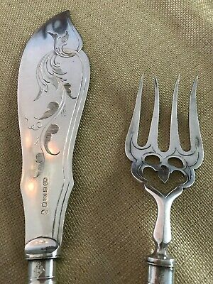 Vtg Silver Plated Engraved Fish Server & Fork by W.B. & Co. S English Hallmarks