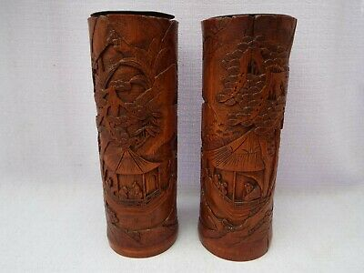 Vintage Pair Chinese Carved Bamboo Paint Brush Pots / Vase Metal Lined