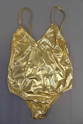 dfe97be7221b Boohoo Women's Boutique Metallic Cross Back Swimsuit CB4 Gold US:10 UK:14  NWT