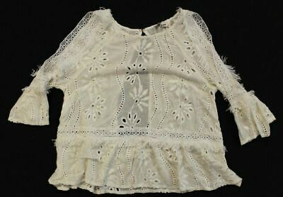 Storee Women's Cold Shoulder Open Back Lace BlouseTW4 Ivory Size XS NWT
