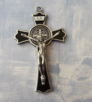 St. Benedict crucifix pendant-Large-Black enamel/dark silver (7cm - 3 inches)