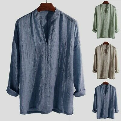 Men's Causal Shirt Breathable Long Sleeve Loose Solid Color V-Neck Top Blouse CA