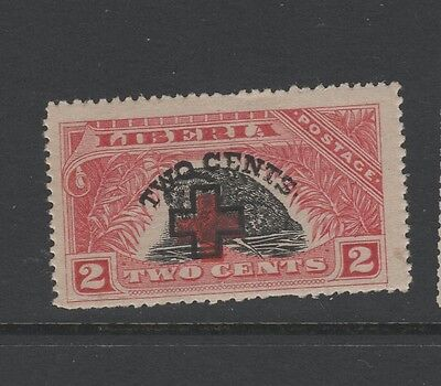 LIBERIA 1918 RED CROSS OVERPRINT 2c + 2c BLACK & RED Mounted Mint Leopard