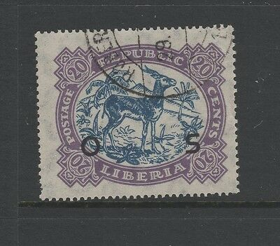 LIBERIA 1923 20c BLUE & VIOLET OFFICIAL Nice Used