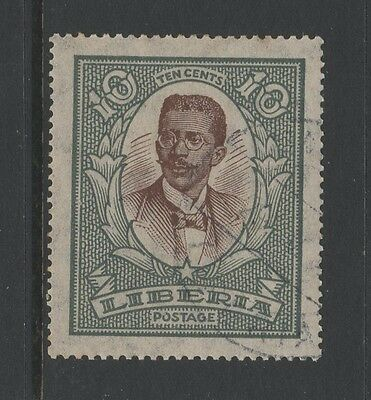 LIBERIA 1923 10c BROWN & GREY PRESIDENT KING Fine Used