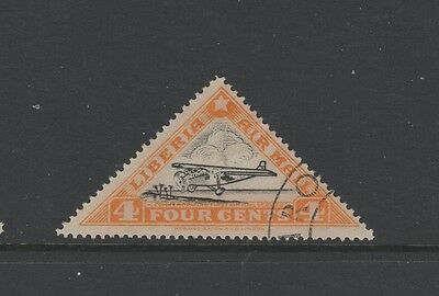 LIBERIA 4c BLACK & ORANGE AIR MAIL Fine Used