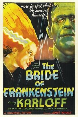 BRIDE OF FRANKENSTEIN - ONE SHEET MOVIE POSTER - 24x36 CLASSIC HORROR 53238