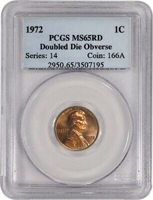 1972 Doubled Die Obverse DDO 1C Lincoln Memorial Cent PCGS MS65 RD