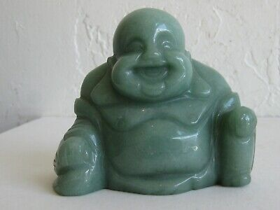 Fine Old Chinese Carved Jadite Jade Laughing Maitreya Buddha Statue Sculpture