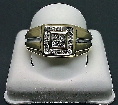 14K Men's Yellow Gold Two Tone Band With 0.50Ct Princess Cut And Round Diamond