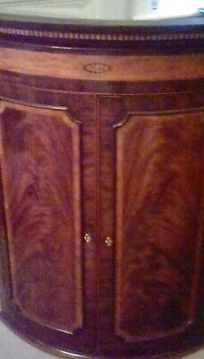 Georgian Antique Mahogany Bow Corner Cupboard With Inlay!