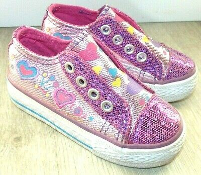 Toddler Girl's Size 5 Stevies by Steve Madden Pink Shimmer Sequin Sneakers Shoes
