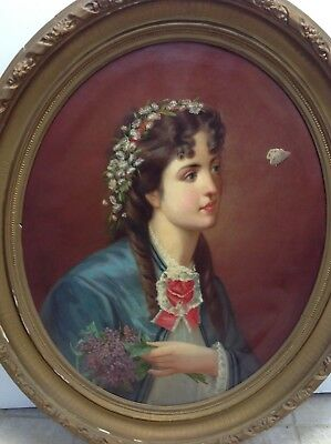 19TH Century Large Oval Framed Oil On Canvas Painting Artist signed