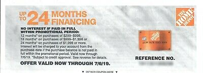 GREAT PRICE!—Home Depot—No Interest for Up to 24 Months—Valid Through JULY 6