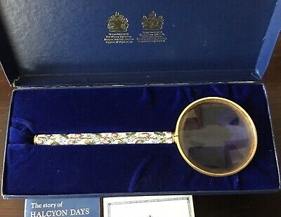 Vintage Halcyon Days English Battersea Enamel Magnifying Glass New In Box