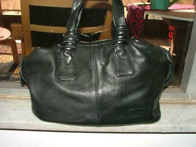Liz Claiborne black leather nicely detailed satchel bag purse In great shape!