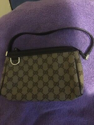cc34438fa28c GUCCI POCHETTE GG Monogram CANVAS & RED LEATHER TRIM HANDBAG ...
