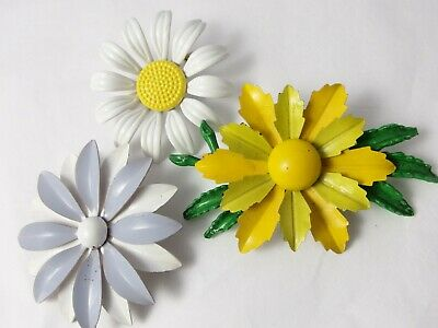 Vintage Retro Flower BROOCH Lot; 3 Metal Enamel Flowers MOD 60/70's White Yellow