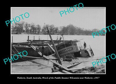 OLD LARGE HISTORIC PHOTO WAIKERIE SOUTH AUSTRALIA, THE WILCANNIA SUNK c1917
