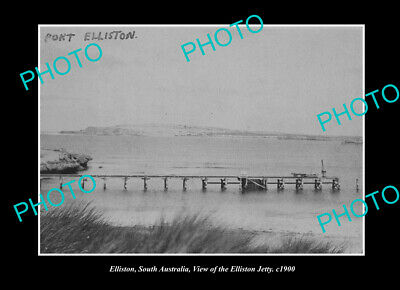 OLD LARGE HISTORIC PHOTO ELLISTON SOUTH AUSTRALIA, VIEW OF THE JETTY c1900