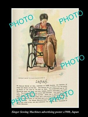 OLD POSTCARD SIZE PHOTO OF SINGER SEWING MACHINE AD POSTER c1900 JAPAN