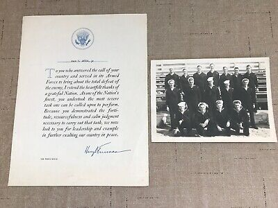 Harry Truman signed Armed Forces White House Letter w/ B & W Navy Photo