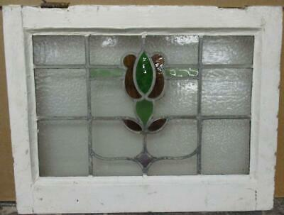 "OLD ENGLISH LEADED STAINED GLASS WINDOW Pretty Abstract Floral 21"" x 16.25"""