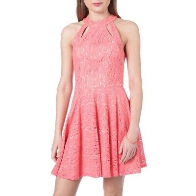 City Triangles Cutout Lace Skater Fit and Flare Dress Coral Racer Back 11 NWT