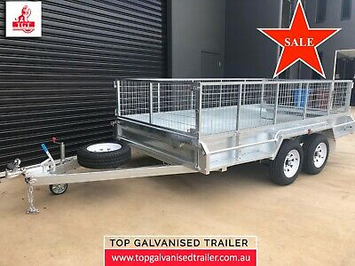 12x6 TANDEM TRAILER GALVANISED HEAVY DUTY WITH 600mm CAGE 2000KG ATM 10X6 10X5