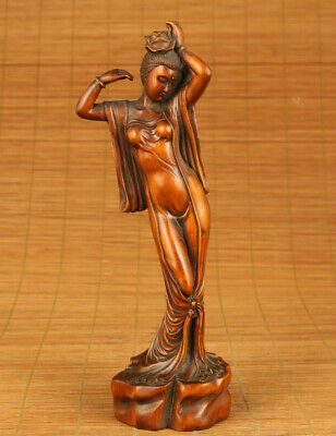 unique chinese old boxwood hand carved queen statue figure collectable ornament