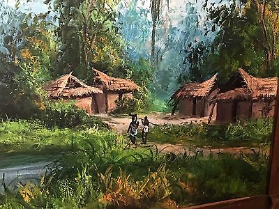 Jungle Oil Painting On Canvas Tropical Village Tiki Primitive Framed Wall Art