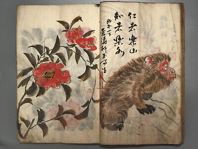 original Japanese hand painting illustrated book in the Edo-Meiji era Antique