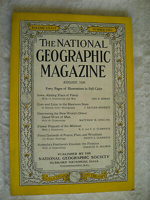 National Geographic Magazine August 1939 Platypus, Hawkeye, Coca-Cola Ads