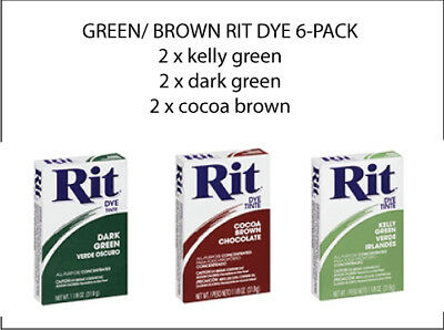 Rit Powder Dye Multi Pack 6 Boxes Dark Green, Kelly,  Cocoa 31.9g NEW Free Post