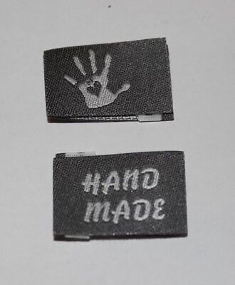 10 Handmade Woven Labels Label Sewing Fabric Label Handmade with Love in grey