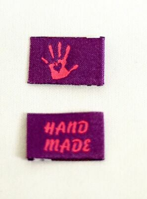 10 Handmade Woven Labels Sewing Fabric Label Handmade with Love purple pink