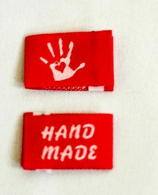 10 Handmade Woven Labels Sewing Fabric Label Handmade with Love red white