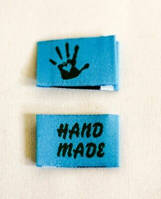 10 Handmade Woven Labels Sewing Fabric Label Handmade with Love lightblue olive